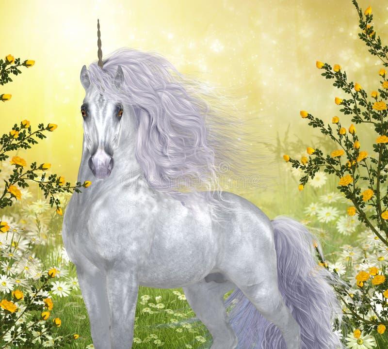 Unicorn White Male vektor illustrationer