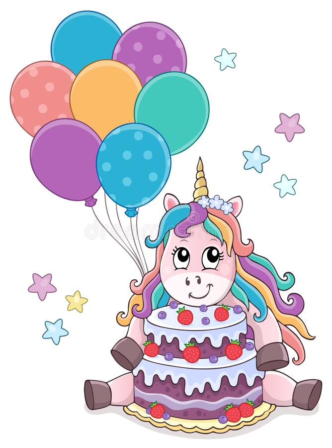 Free Unicorn With Cake And Balloons Theme 1 Royalty Free Stock Image - 169400826