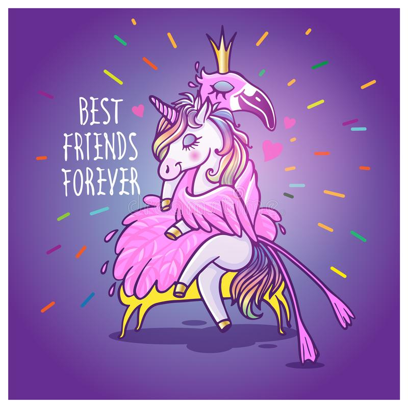 Free Unicorn With Flamingo. Best Friends Forever. Vector Greeting Car Stock Photography - 101821032