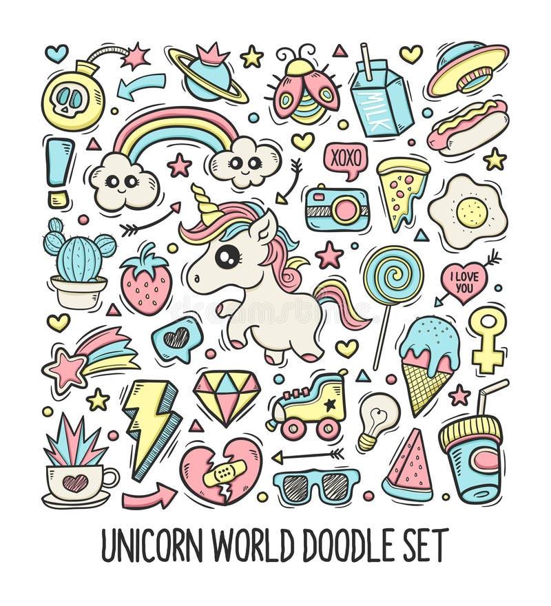 Unicorn World Doodle Set Hand utdragen vektor stock illustrationer