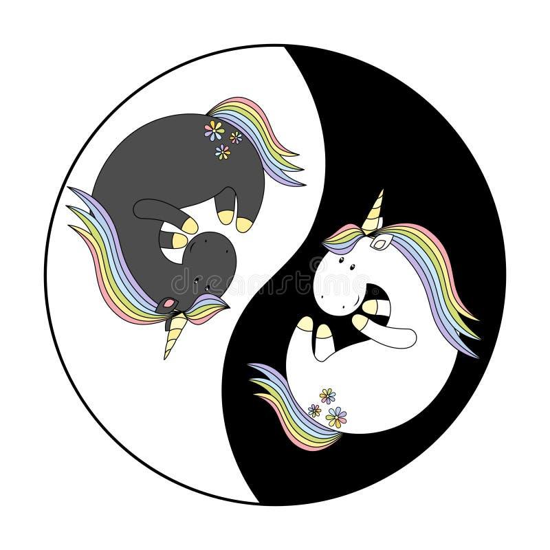 unicorno astratto in zen style illustrazione di stock
