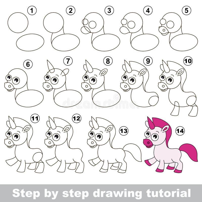unicorn Zeichnendes Tutorium stock abbildung