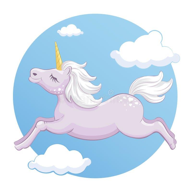 Unicorne du stock vectoriel dans les nuages photographie stock