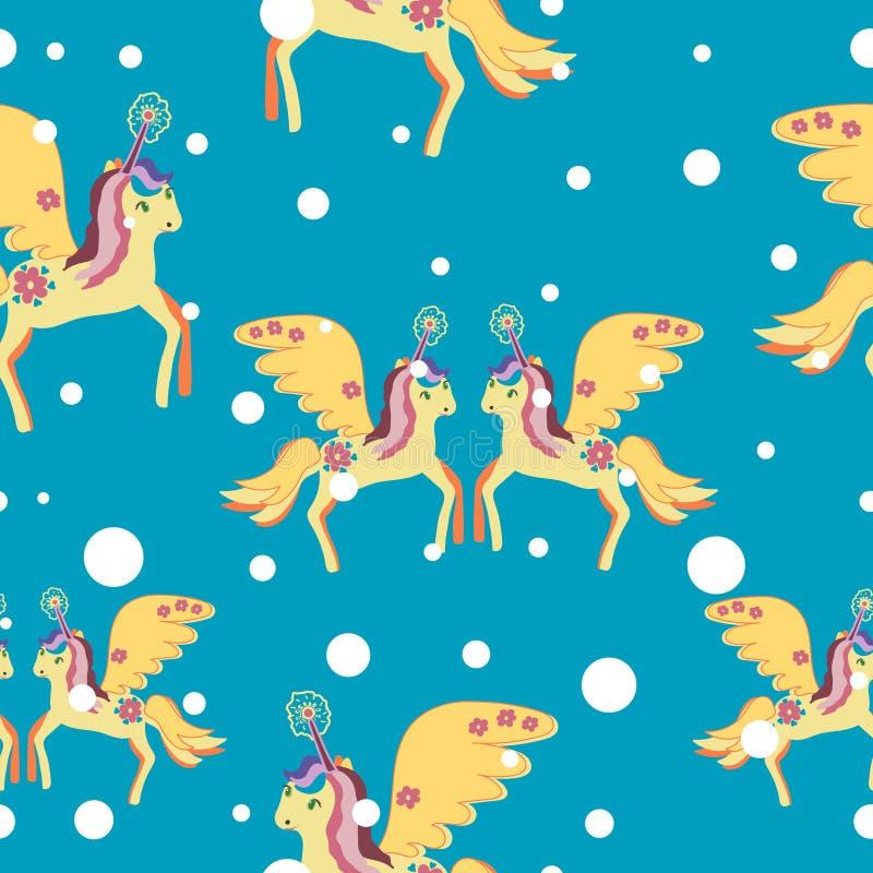 Unicorne magique à crinière colorée affiche sans soudure hivernale, carte postale, tissu, papier peint Unicorne colorée Miracle illustration stock