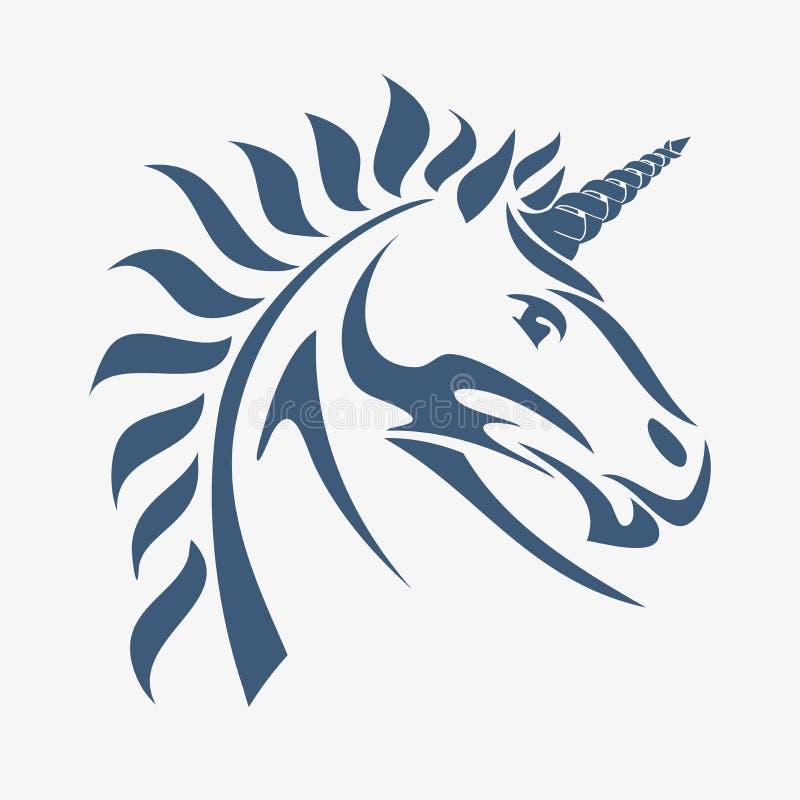 Unicornhuvud stock illustrationer