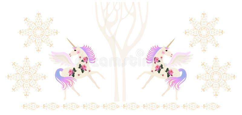 Unicorni alati in foresta magica di inverno, snowlakes dorati e confine ornamentale isolati su fondo bianco illustrazione di stock