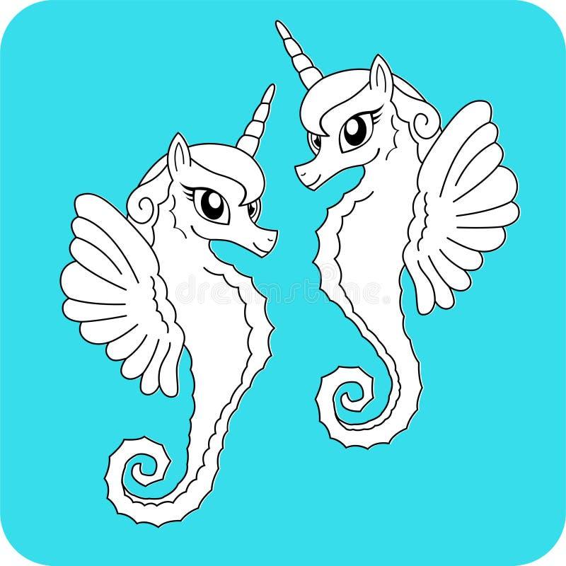 Unicorni del mare del libro da colorare immagine stock