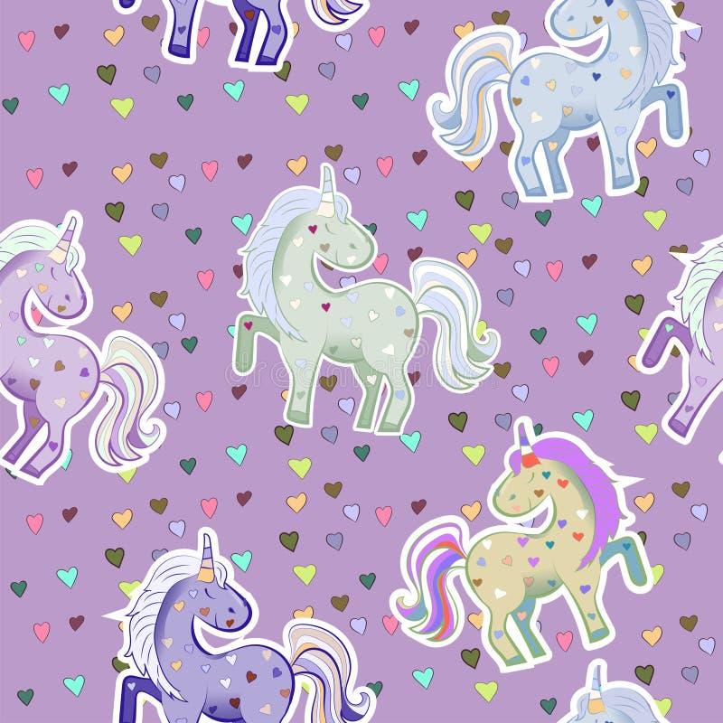 Unicorni nei colori pastelli sui precedenti dei cuori Illustrazione di vettore Modello senza cuciture per il giorno del biglietto illustrazione vettoriale