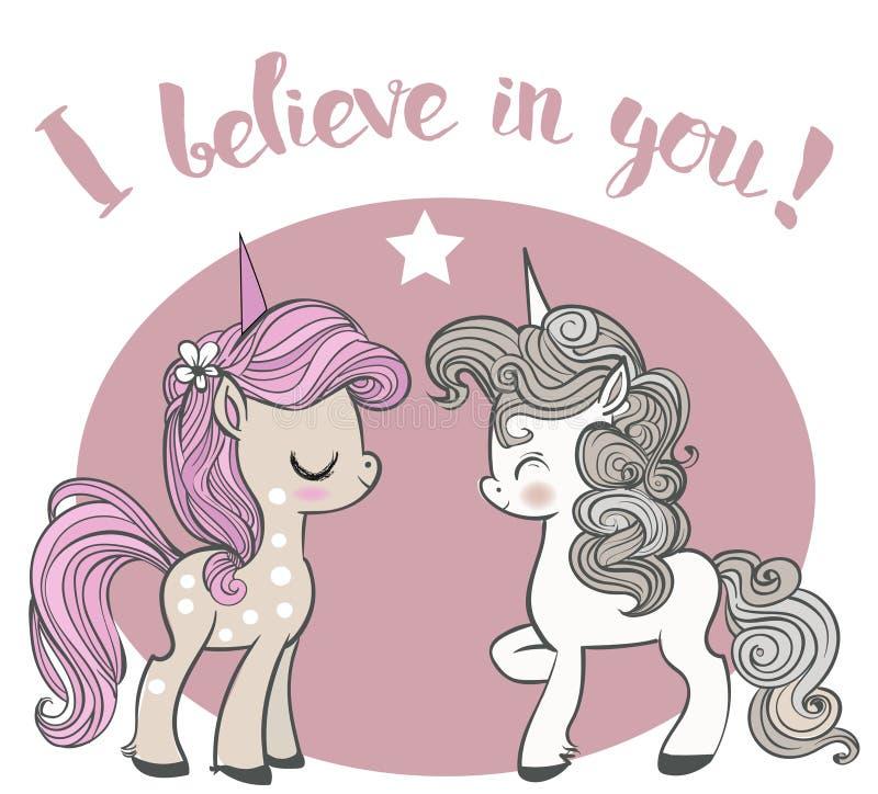 Unicorni rosa e blu del fumetto royalty illustrazione gratis
