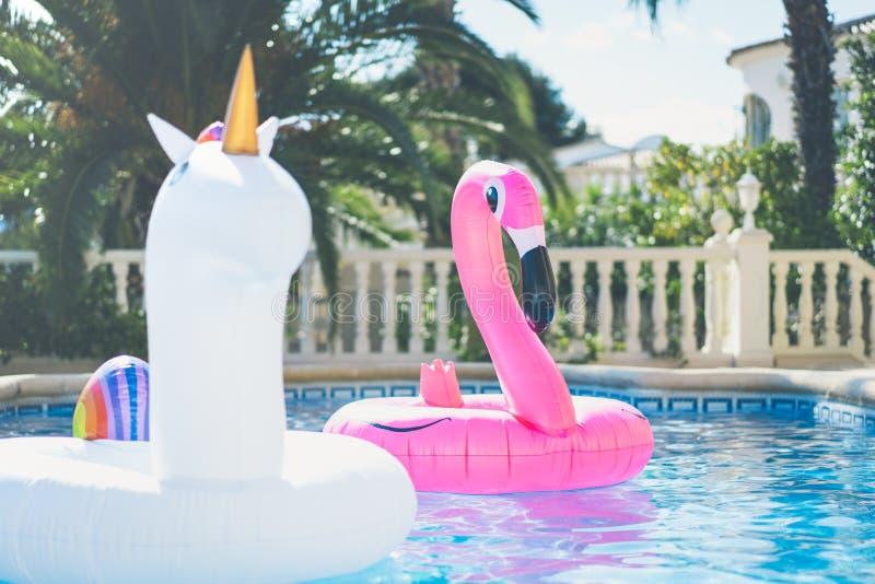 Unicornio blanco colorido inflable y flamenco rosado en la piscina de la nadada Semana de los días de fiesta en la piscina con el fotos de archivo