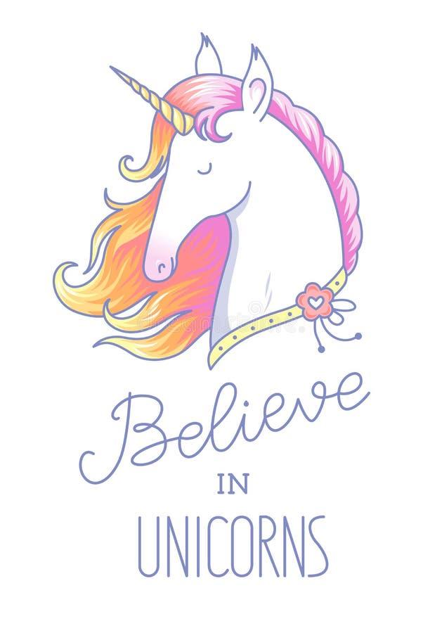Unicornio blanco principal stock de ilustración