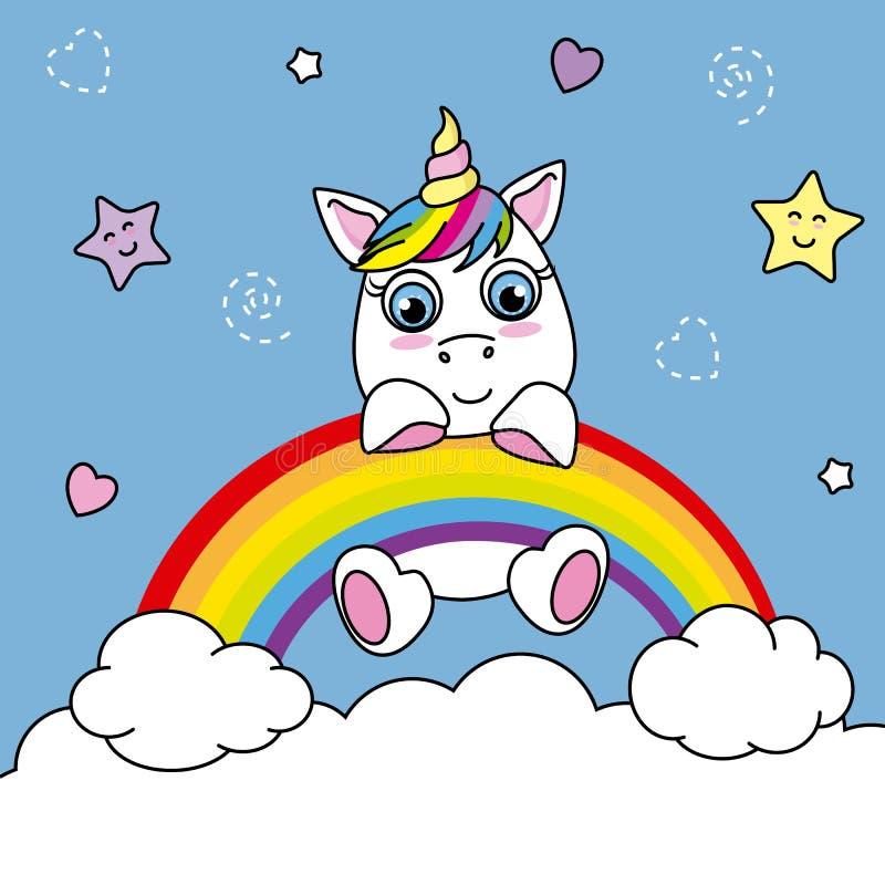 Unicornio cogido de un arco iris stock de ilustración