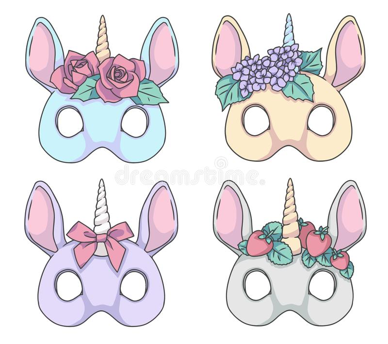 Unicornio colorido del estilo de la historieta con los dibujos de la máscara del vector de las vendas de la flor ilustración del vector