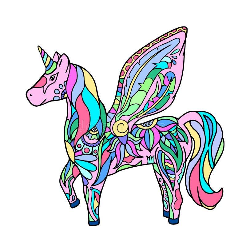 Unicornio colorido - ejemplo a mano ilustración del vector