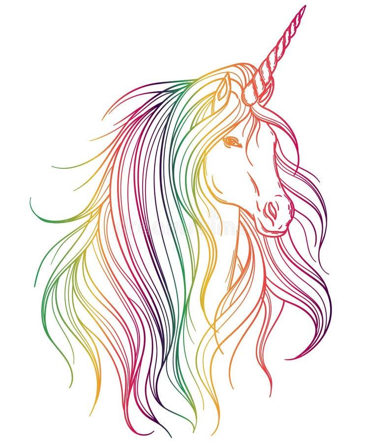 Diseño Del Rainbow Warrior Iii: Unicornio Con Colores Del Arco Iris En El Fondo Blanco