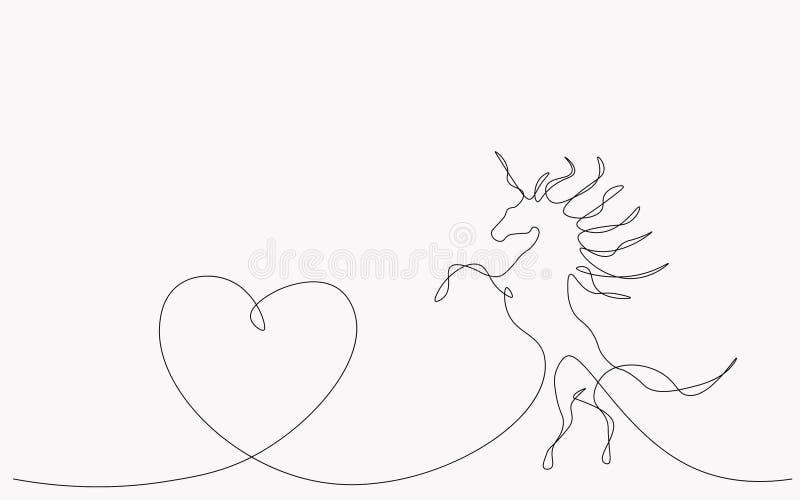 Unicornio con el corazón, vector del fondo de día de San Valentín stock de ilustración