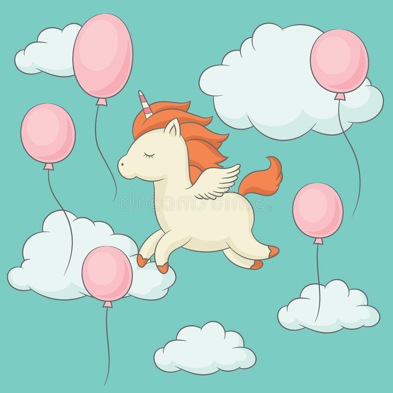 Unicornio con las alas que vuelan en el cielo ilustración del vector