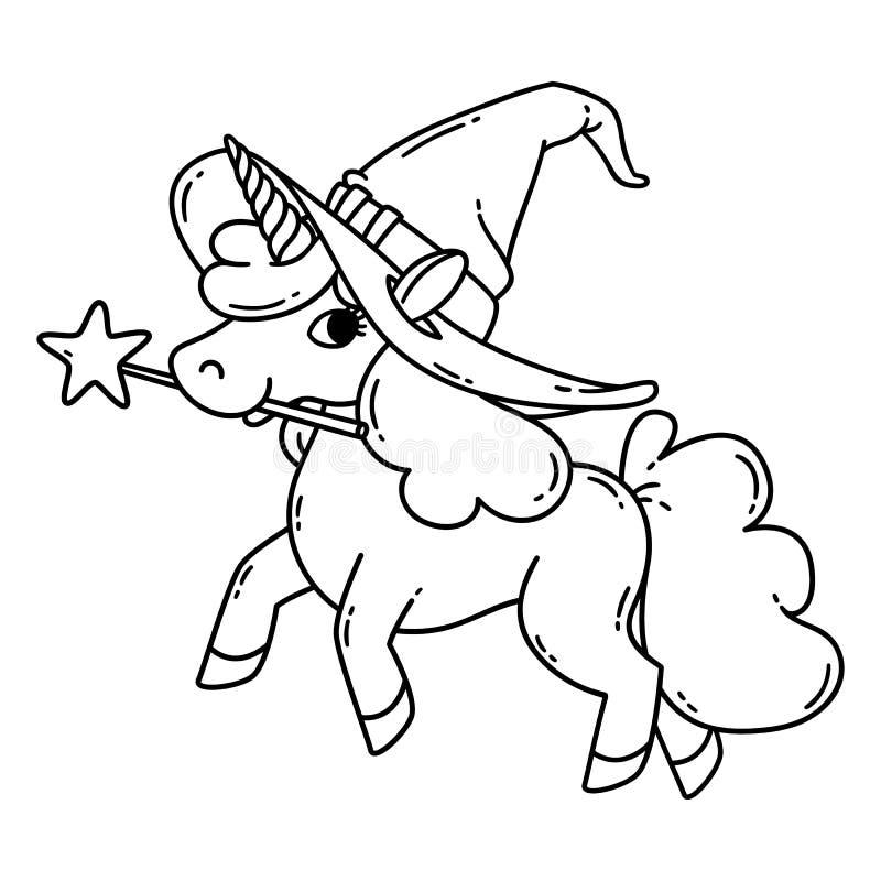 Unicornio de Halloween con el sombrero mágico de la vara y de la bruja libre illustration