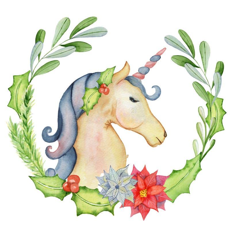 Unicornio de la acuarela de la Navidad con las guirnaldas florales ilustración del vector