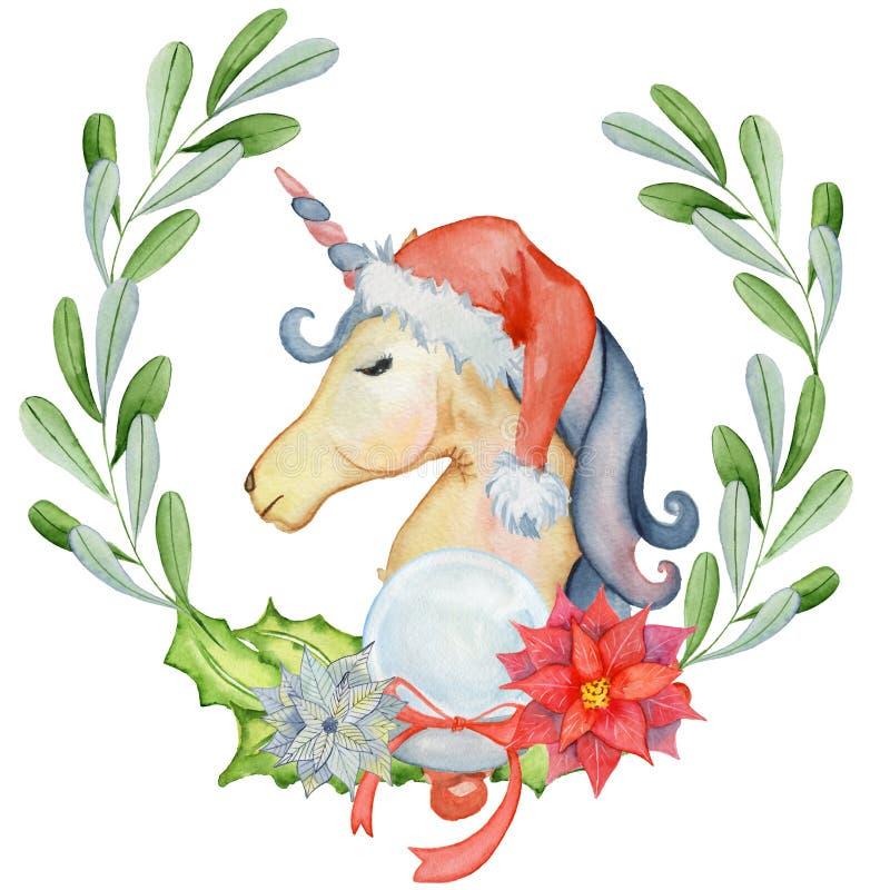 Unicornio de la acuarela de la Navidad con las guirnaldas y el sombrero florales de santa ilustración del vector
