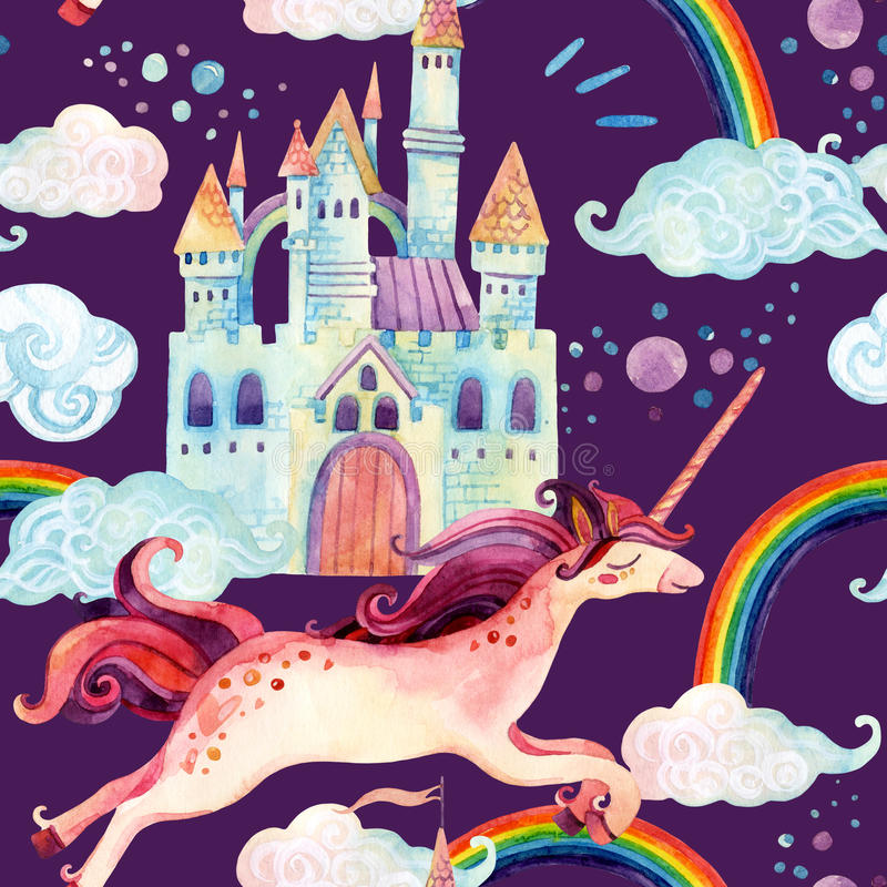 Unicornio de la acuarela y modelo inconsútil del castillo stock de ilustración