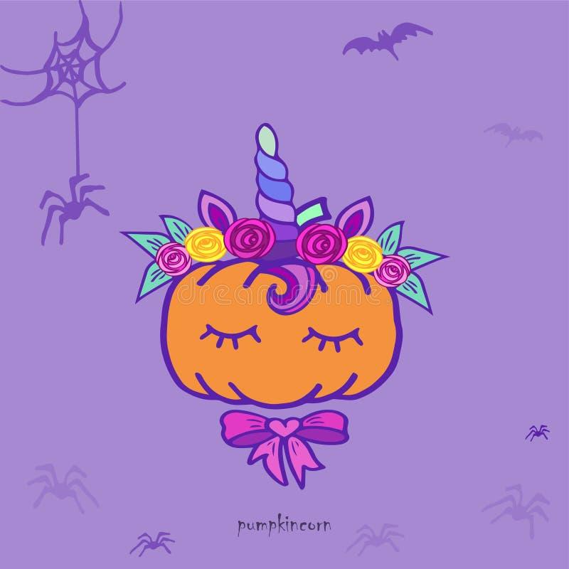 Unicornio de la calabaza Tarjeta divertida de Halloween ilustración del vector