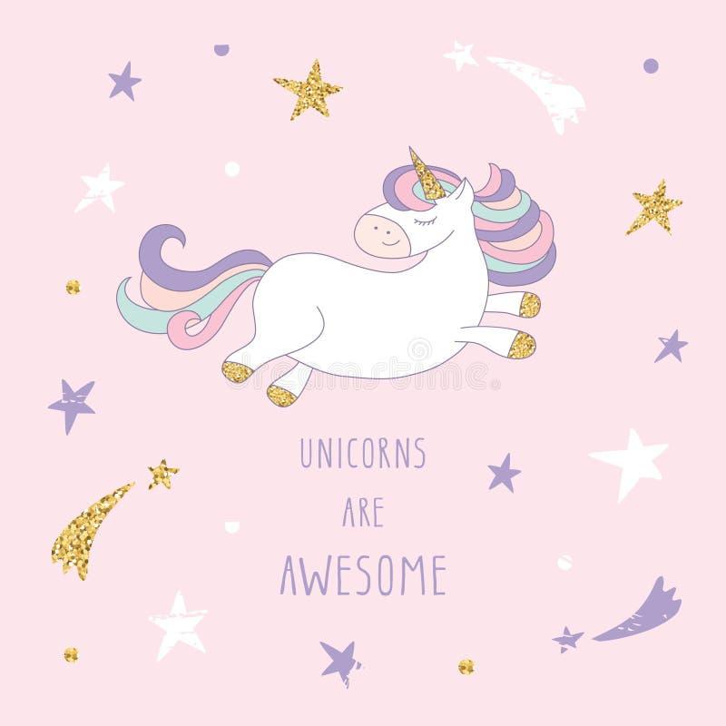 Unicornio de la historieta en el cielo estrellado stock de ilustración