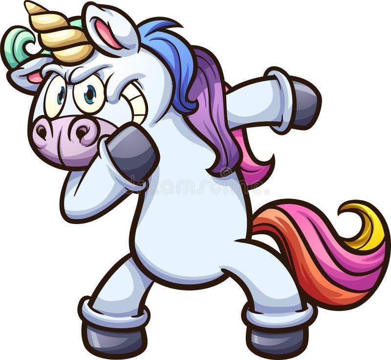 Unicornio de la historieta que frota stock de ilustración