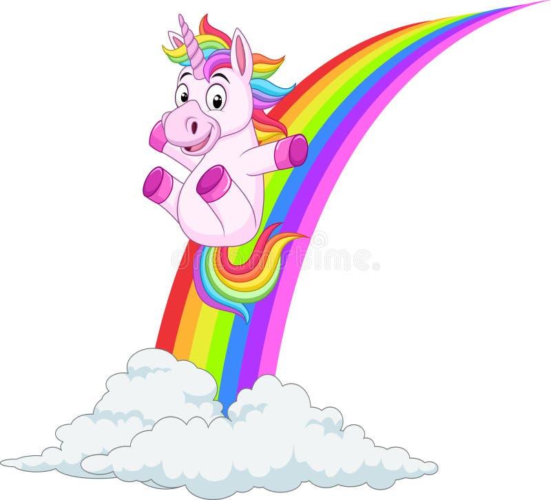 Unicornio de la historieta que resbala en el arco iris ilustración del vector