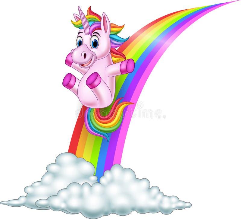 Unicornio de la historieta que resbala en un arco iris ilustración del vector