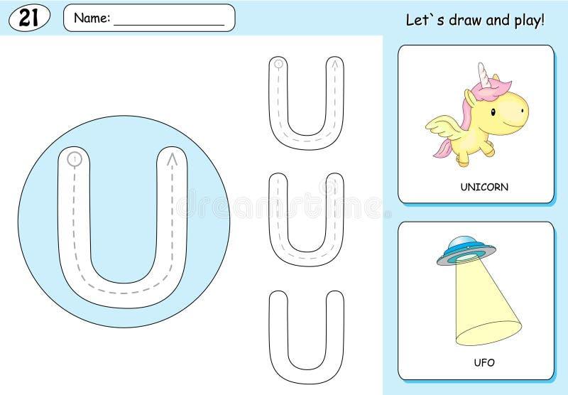 Unicornio de la historieta y UFO Hoja de trabajo de trazado del alfabeto: A-Z de la escritura stock de ilustración