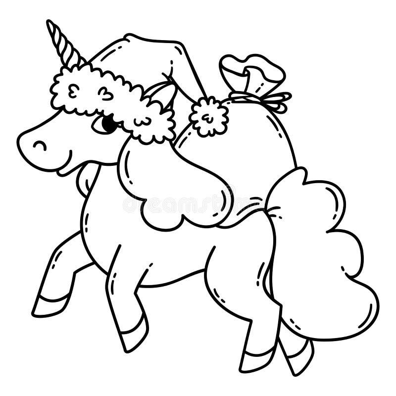 Unicornio de la Navidad con un sombrero de santa y un bolso de regalos stock de ilustración