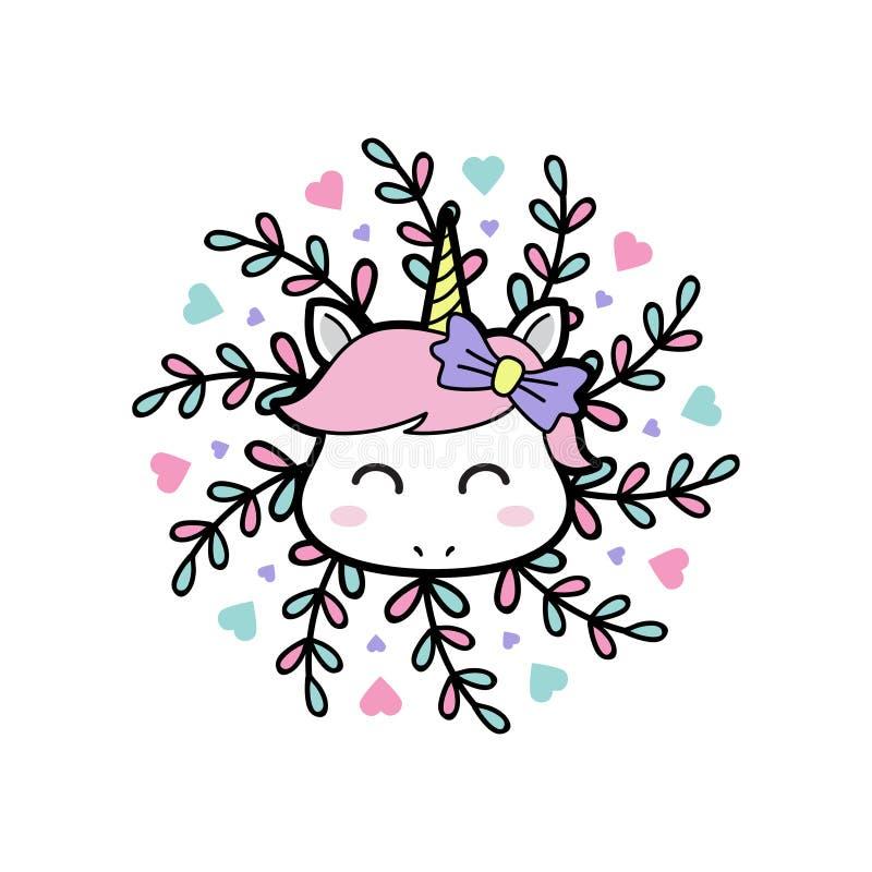 Unicornio del bebé de la sonrisa con el fondo floral de la mandala stock de ilustración
