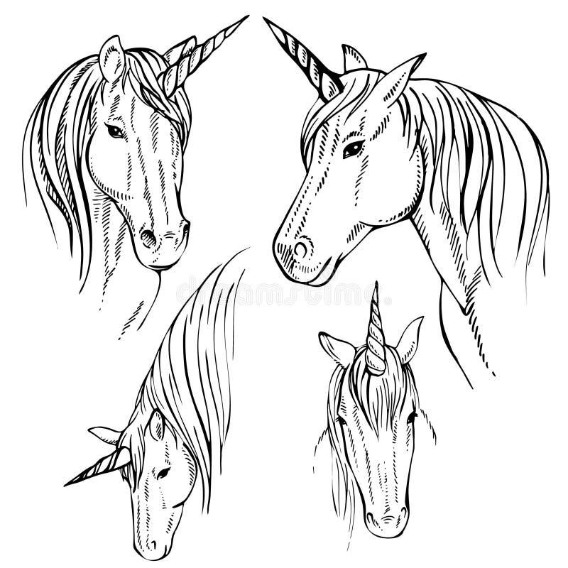 Unicornio del bosquejo, ejemplo dibujado mano de la tinta ilustración del vector