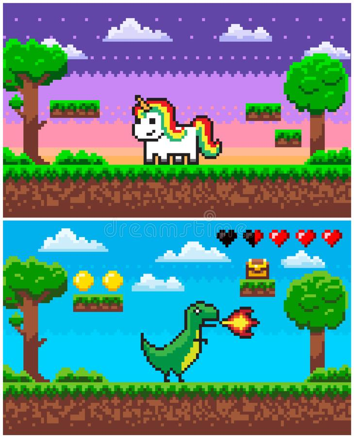 Unicornio del dinosaurio, gráficos de Pixelated del juego del pixel stock de ilustración
