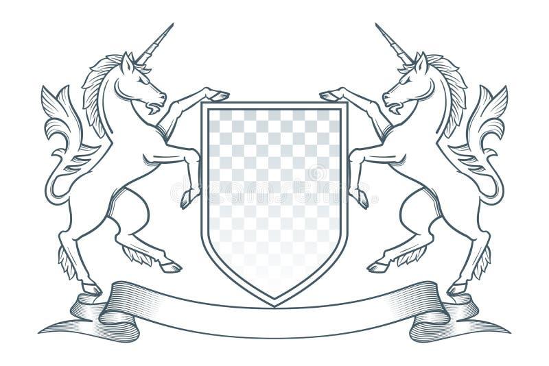 Unicornio del escudo de armas ilustración del vector