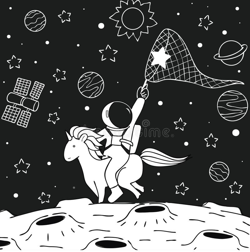 Unicornio del paseo del astronauta stock de ilustración