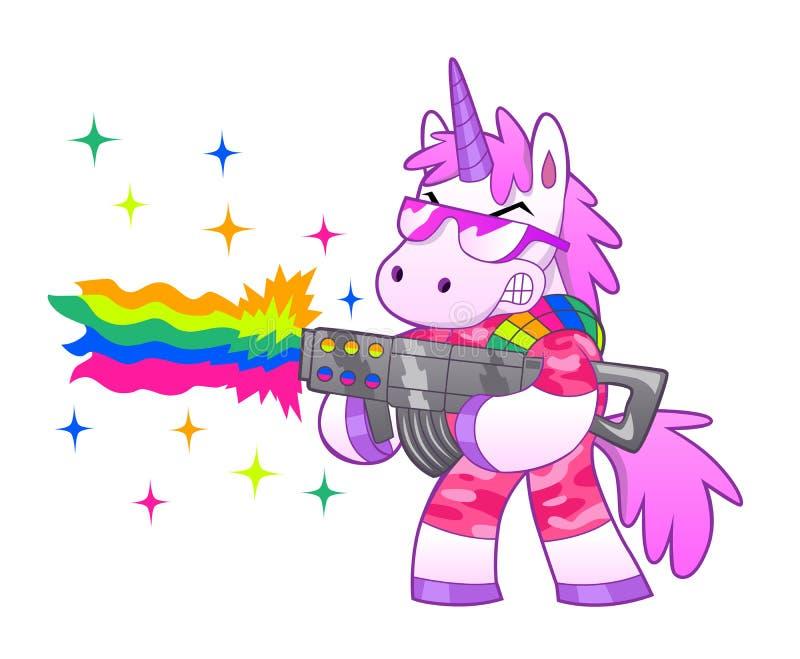 Unicornio del soldado del arco iris stock de ilustración