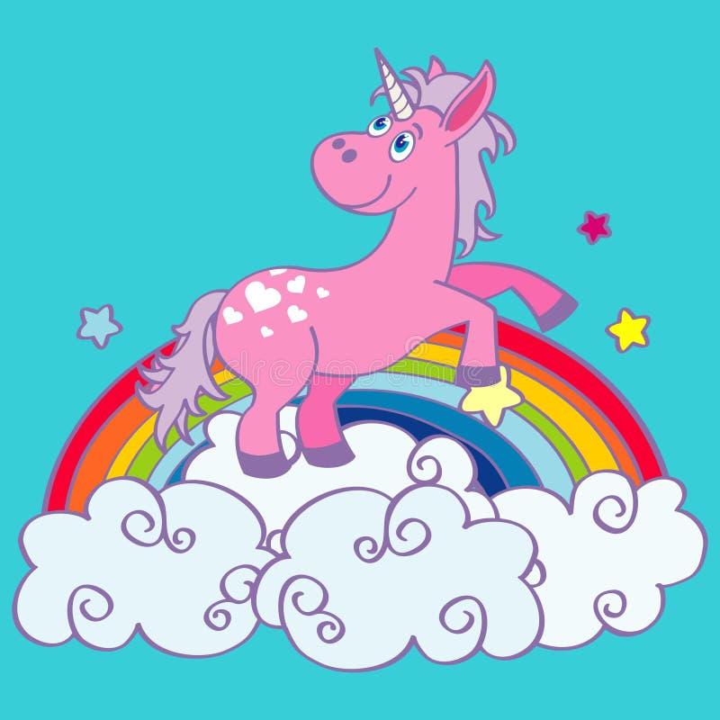 Unicornio dibujado mano del vector en el arco iris stock de ilustración