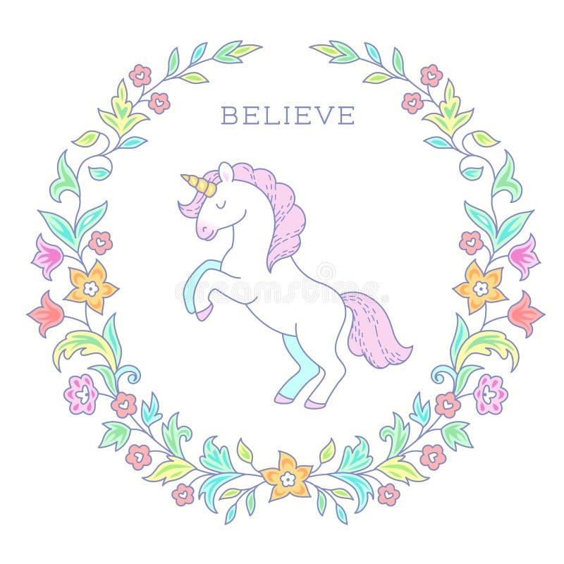 Unicornio en guirnalda floral ilustración del vector