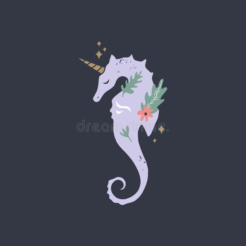 Unicornio estilizado del seahorse Silueta, ejemplo gráfico de la vida marina Tema de las vacaciones de verano, impresión del cuar stock de ilustración