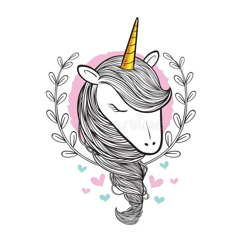 Unicornio exhausto del garabato de la belleza de la mano stock de ilustración
