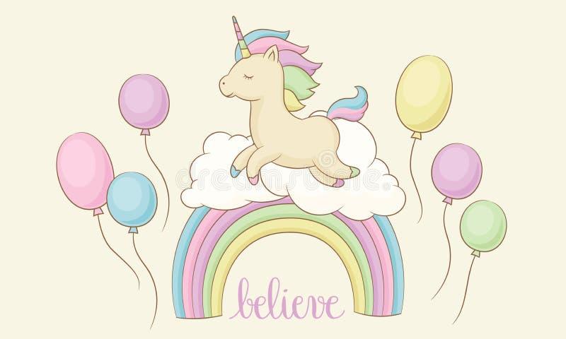 Unicornio feliz en el arco iris con las nubes y los globos ilustración del vector