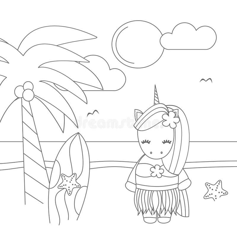 Unicornio hawaiano de la historieta blanco y negro preciosa linda en el ejemplo divertido del vector de la playa para el arte que libre illustration