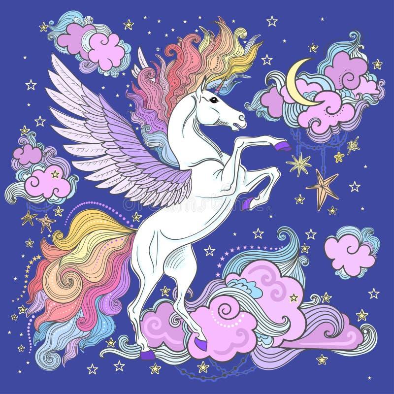 Unicornio hermoso entre las nubes y las estrellas stock de ilustración
