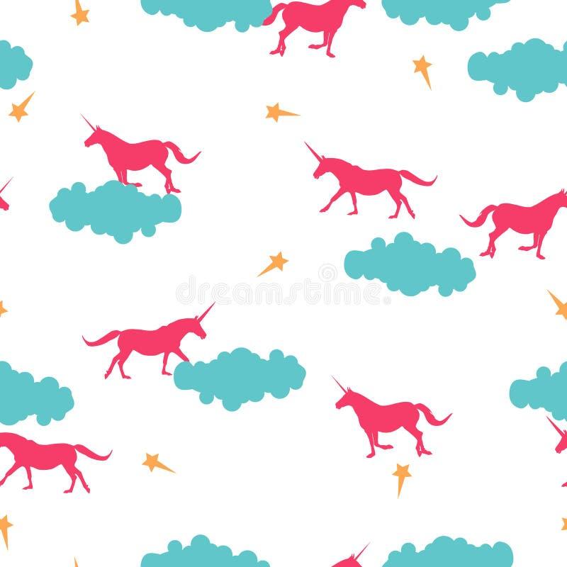 Unicornio inconsútil del rosa del modelo, nube, estrella en el blanco, vivo libre illustration