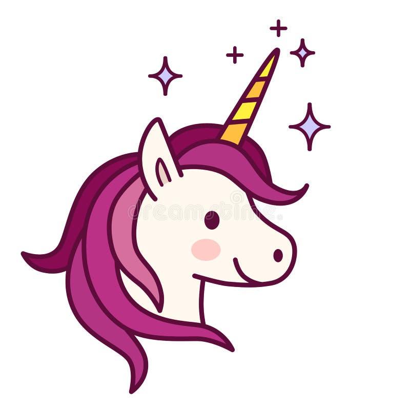 Unicornio lindo con el ejemplo rosado del vector de la melena Lin plano simple stock de ilustración