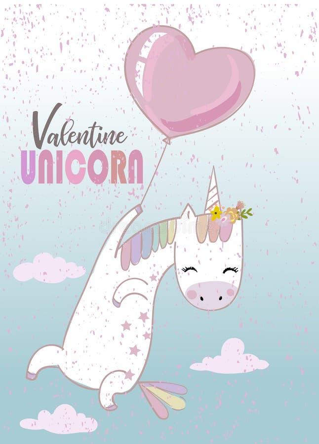 Unicornio lindo con el globo libre illustration