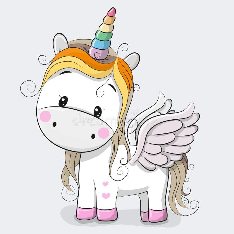unicornio lindo de la historieta ilustración del vector