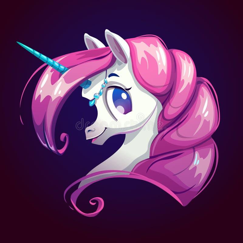 Unicornio lindo de la historieta con el pelo rosado ilustración del vector